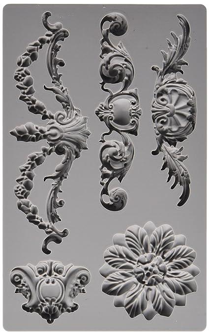 prima marketing 814793 baroque no3 iron orchid designs vintage art decor mold grey