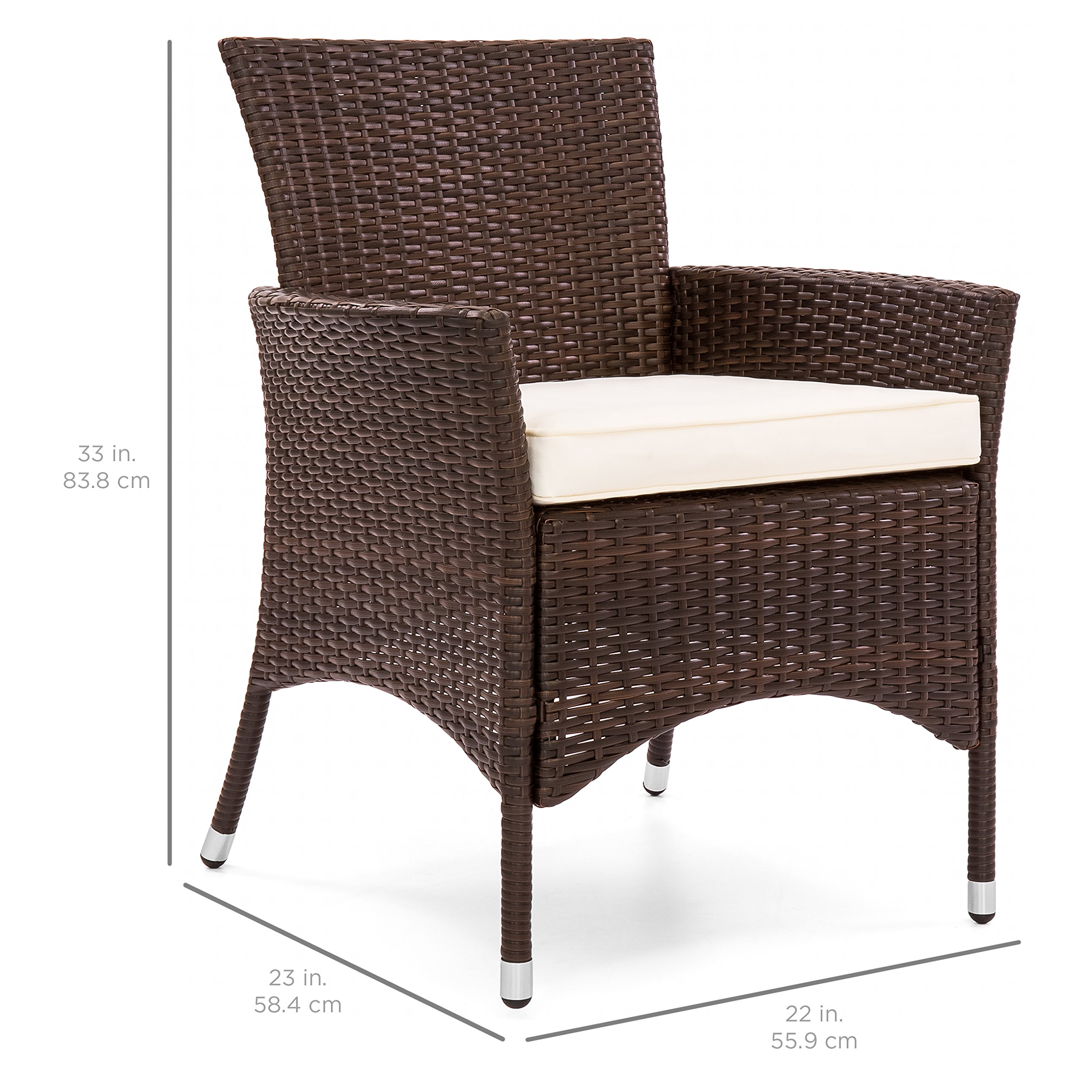 Best Choice Products Set of 2 Modern Contemporary Wicker Patio Dining Chairs w/Water Resistant Cushion - Brown by Best Choice Products (Image #6)