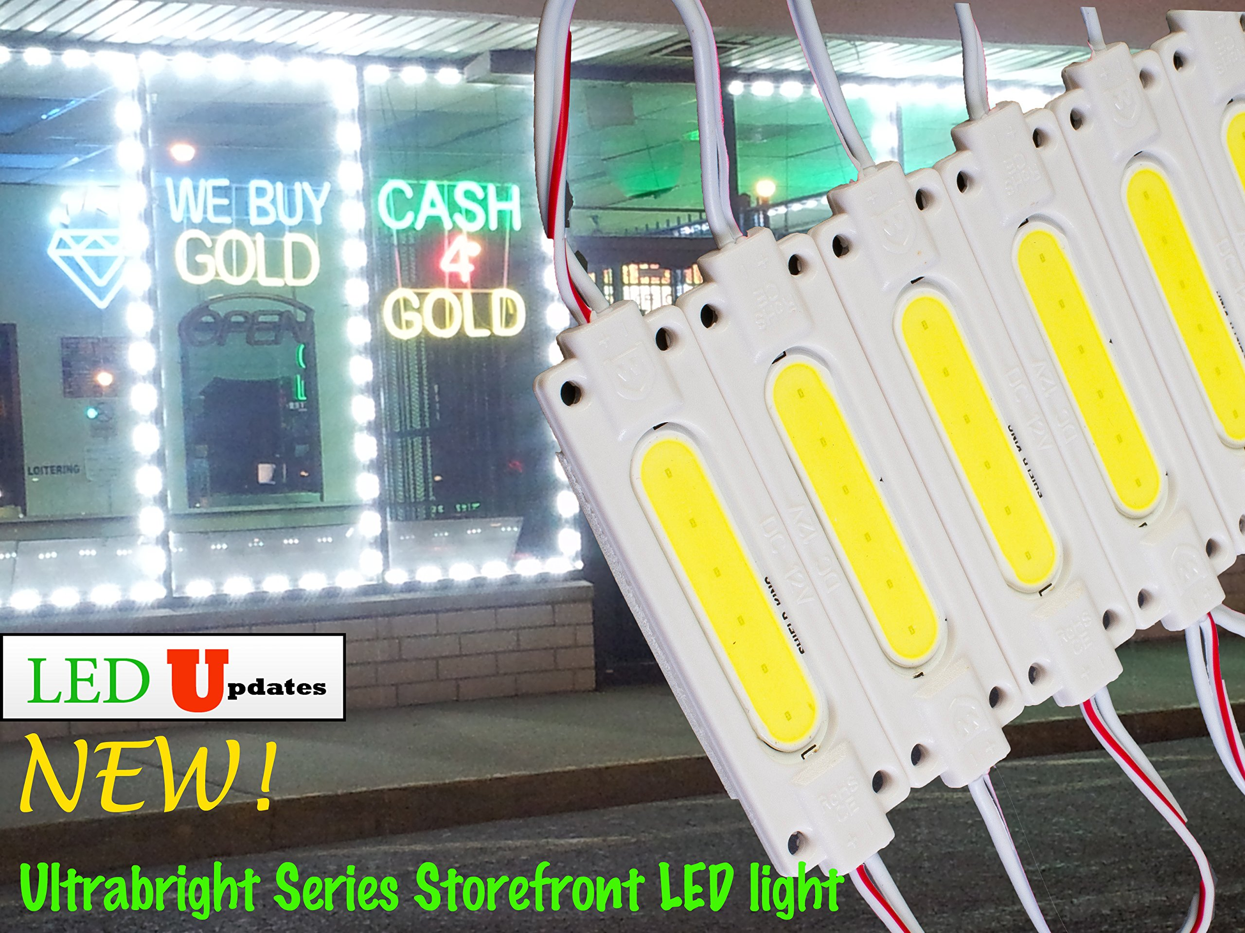 LEDUPDATES BRIGHTEST STOREFRONT WINDOW LED LIGHT COB WITH UL POWER SUPPLY BRIGHTER THAN 5050 5630 5730 2835 (20ft, White)