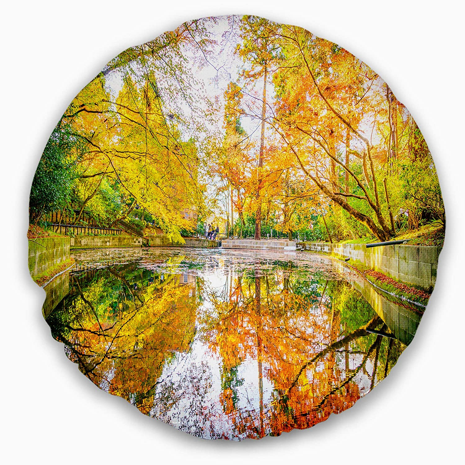 20 Designart CU15429-20-20-C Bright Fall Forest with River Landscape Printed Round Cushion Cover for Living Room Sofa Throw Pillow