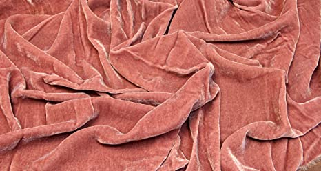 """SILK RAYON VELVET CORAL SOLID FABRIC 45"""" CLOTHING DRAPERY DRESSES BY YARD"""