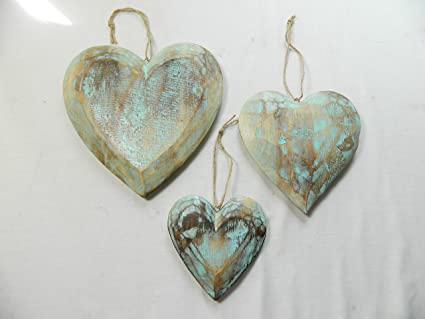 Thai Gifts Wooden Hanging Heart Wall Art Set Of 3 Shabby Chic