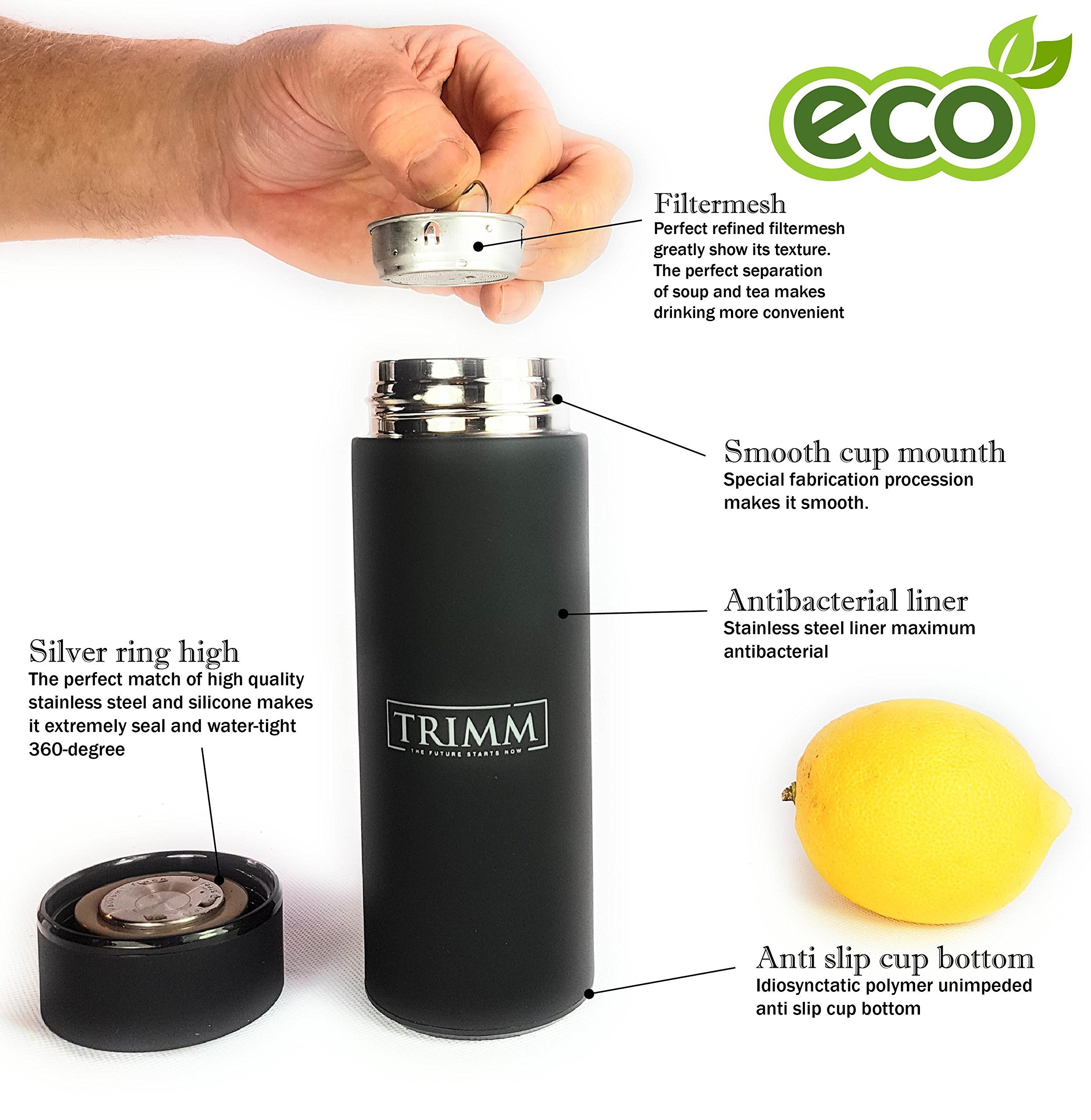 Trimm Portable Hand Held Espresso Machine and Thermos Vacuum Insulated Double Wall | Portable Espresso Maker and Flask | Single Cup Coffee Maker and Tea Thermos Bottle | Travel Set Great Gift Idea by TRIMM THE FUTURE STARTS NOW (Image #5)