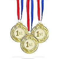 Juvale 6-Pack Gold 1e Place Award Medaille Set - Metalen Olympische Stijl voor Sport, Wedstrijden, Spellingbijen…