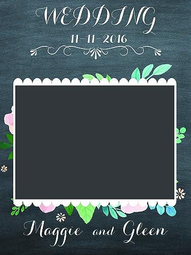 Amazon.com: Custom Chalkboard and Flowers Wedding Anniversary Photo ...