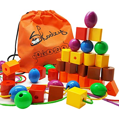 Skoolzy Lacing Beads for Kids Toddler Toy - JUMBO Primary Lacing Toys For Toddlers - Autism Fine Motor Skills Montessori Toys - 36 String Beads, 4 Strings, Travel Bag, Preschool Activities eBook Set: Toys & Games