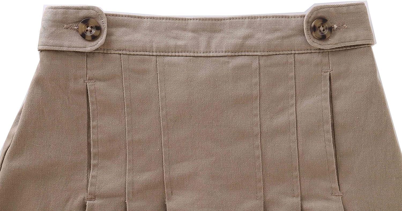 Bienzoe Girls Cotton Stretchy Elastic Wasit School Uniforms Pleated Skirt