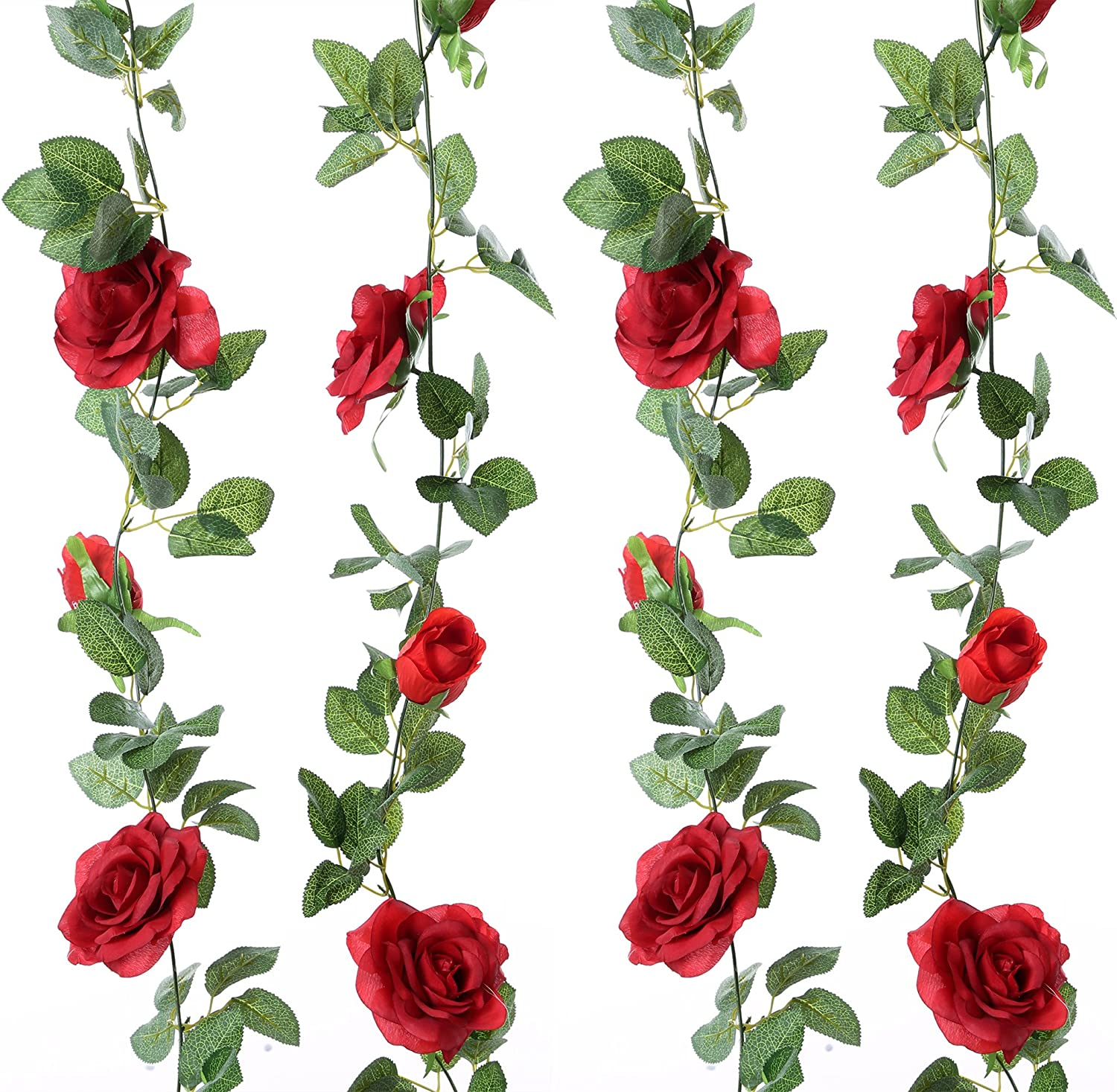 Felice Arts 2PCS 13 FT Fake Silk Rose Vine Artificial Flowers Garland Plants Hanging Rose Ivy for Home Wedding Party Garden Hotel Office Craft Art Decor, Red