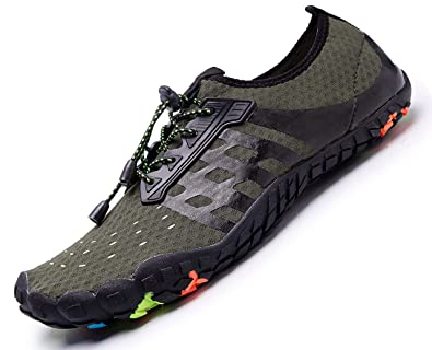 ee8c716efd6 Amazon.com | Womens Mens Aqua Water Shoes Quick Dry Barefoot Sports Exercise  for Walking Swimming Diving Beach Surf Pool Yoga,Green 14.5 M US Women / 13  M ...