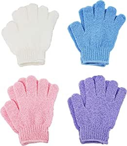 ATB 4 Pairs Exfoliating Gloves - Premium Scrub Wash Mitt for Bath or Shower - Luxury Spa Exfoliation Accessories For Men and Women
