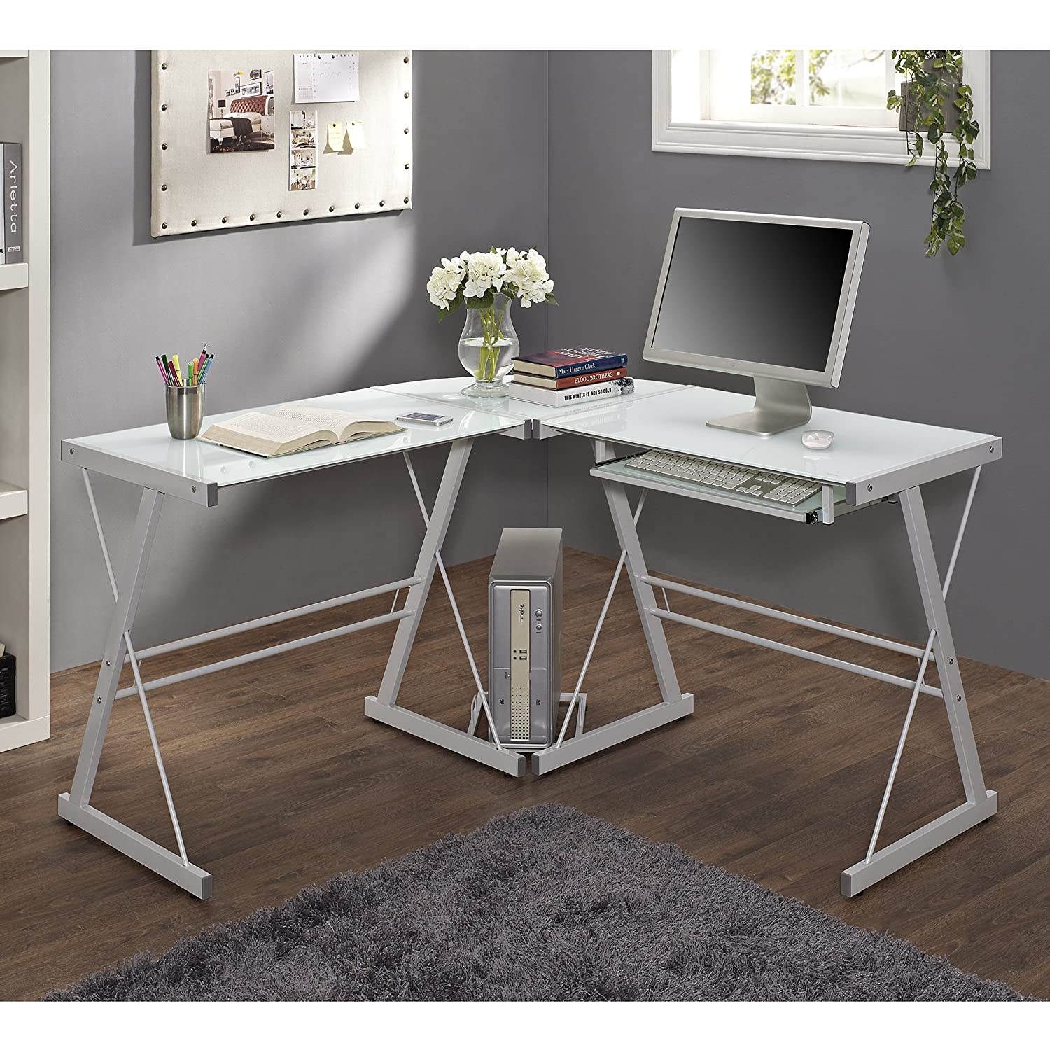 Amazon.com: WE Furniture Glass Metal Corner Computer Desk: Kitchen & Dining