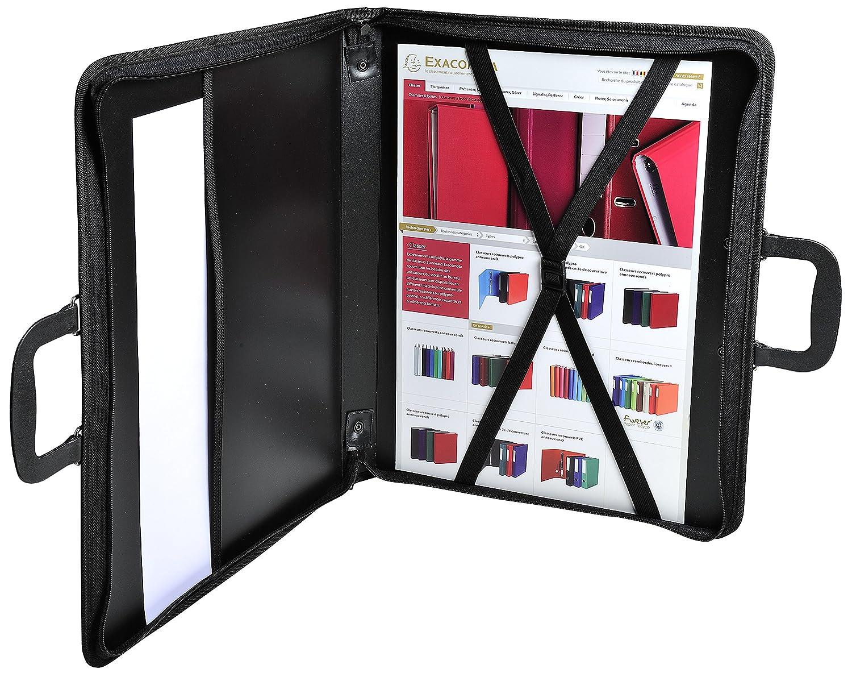Clairefontaine ZPC-A2Z Press Book Zeichenmappe schwarz PP, Rei/ßverschlu/ß, Griff, innen Gummiz/üge, Schutzkappen zum Abstellen, f/ür DIN A2, 42 x 59,4 cm