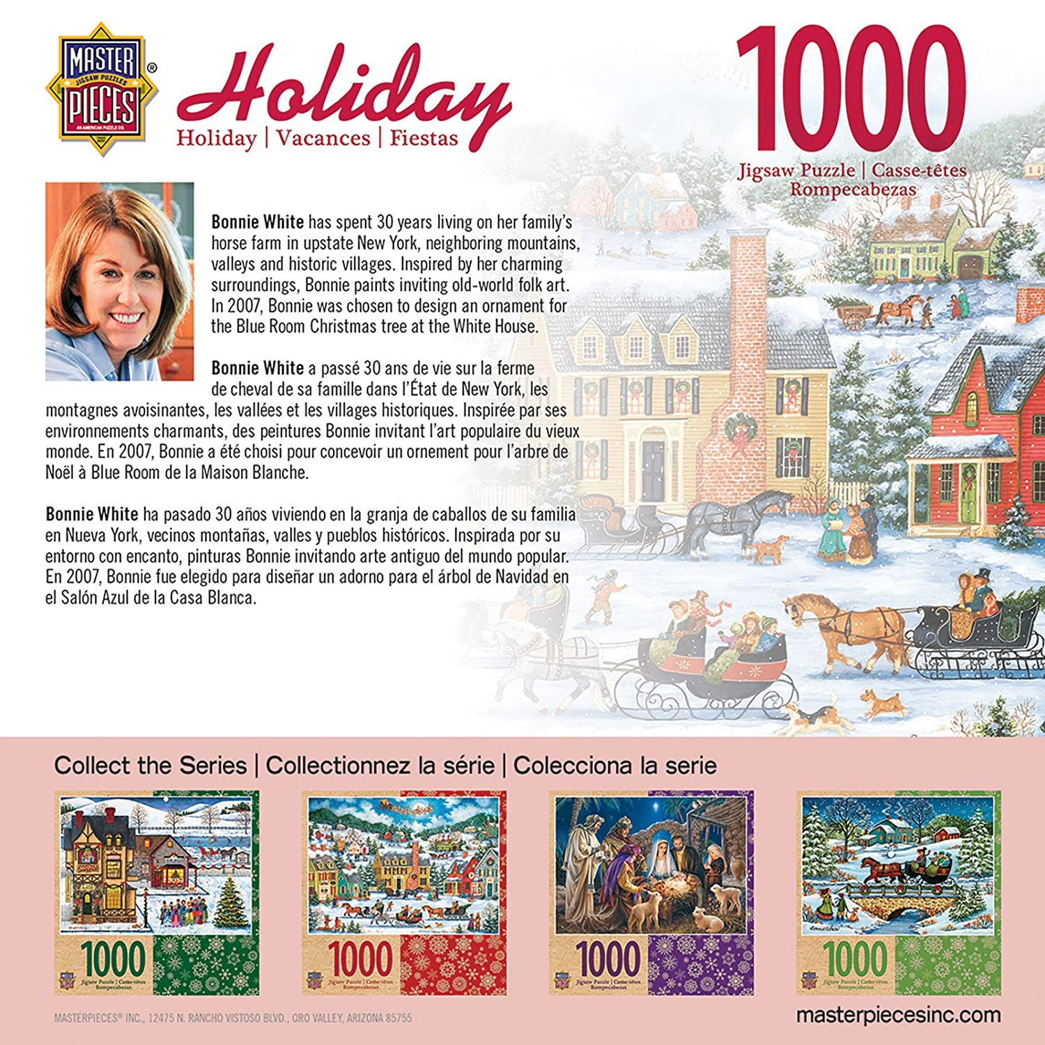 Amazon.com: MasterPieces Seasonal Christmas Eve Fly By Winter Village Scene Jigsaw Puzzle by Bonnie White, 1000-Piece: Toys & Games