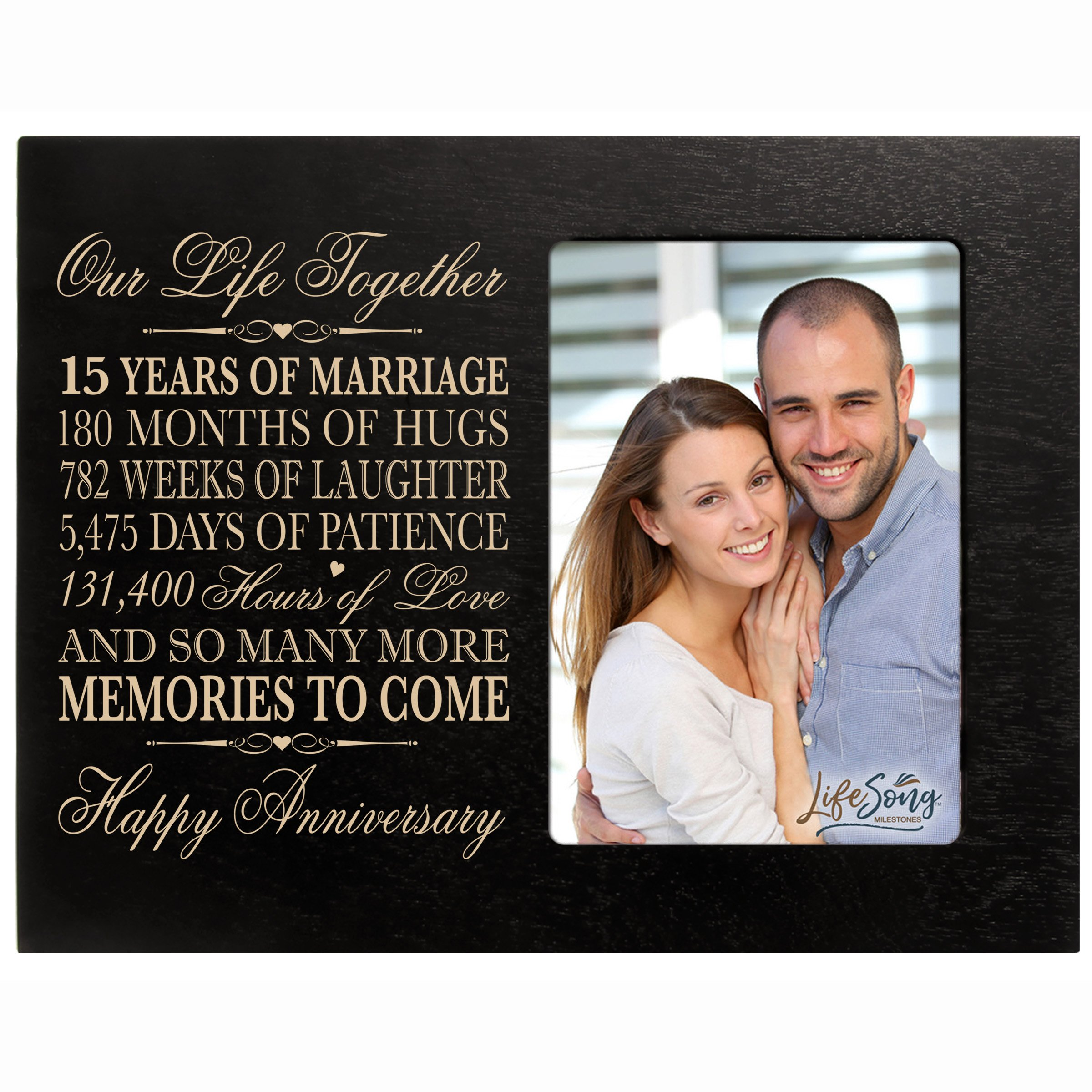 LifeSong Milestones Fifteen Year her him Couple Engraved 15th Year Wedding Celebration for Husband Wife Girlfriend Boyfriend Frame Holds 4x6 Photo (Black)