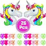 SAKIBO Giant Rainbow Unicorn Party Supplies 35in Foil 12in Latex Assorted Color Balloons Kids Birthday Baby Shower Decoration Pack of 26