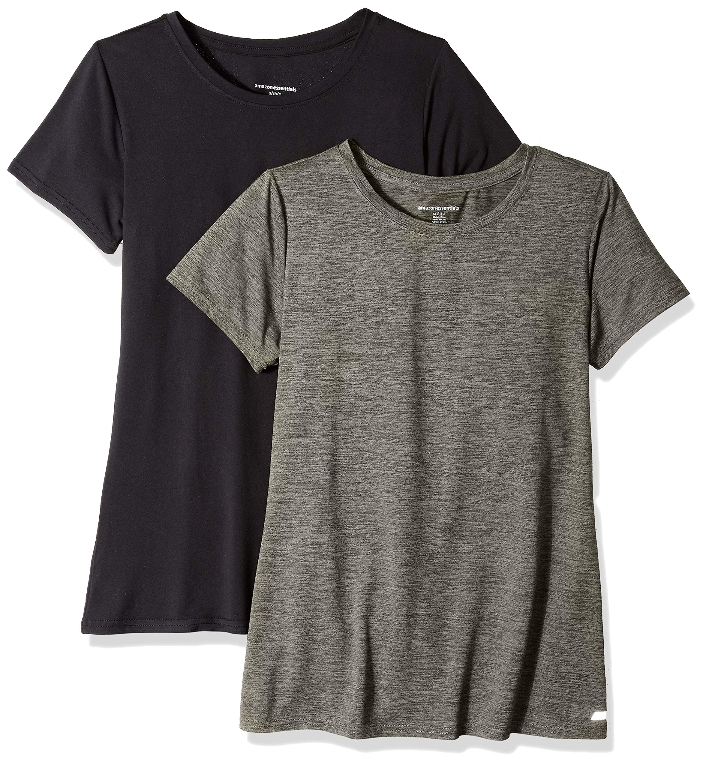 Amazon Essentials Women's 2-Pack Tech Stretch Short-Sleeve Crewneck T-Shirt, Olive Space dye/Black, X-Small by Amazon Essentials