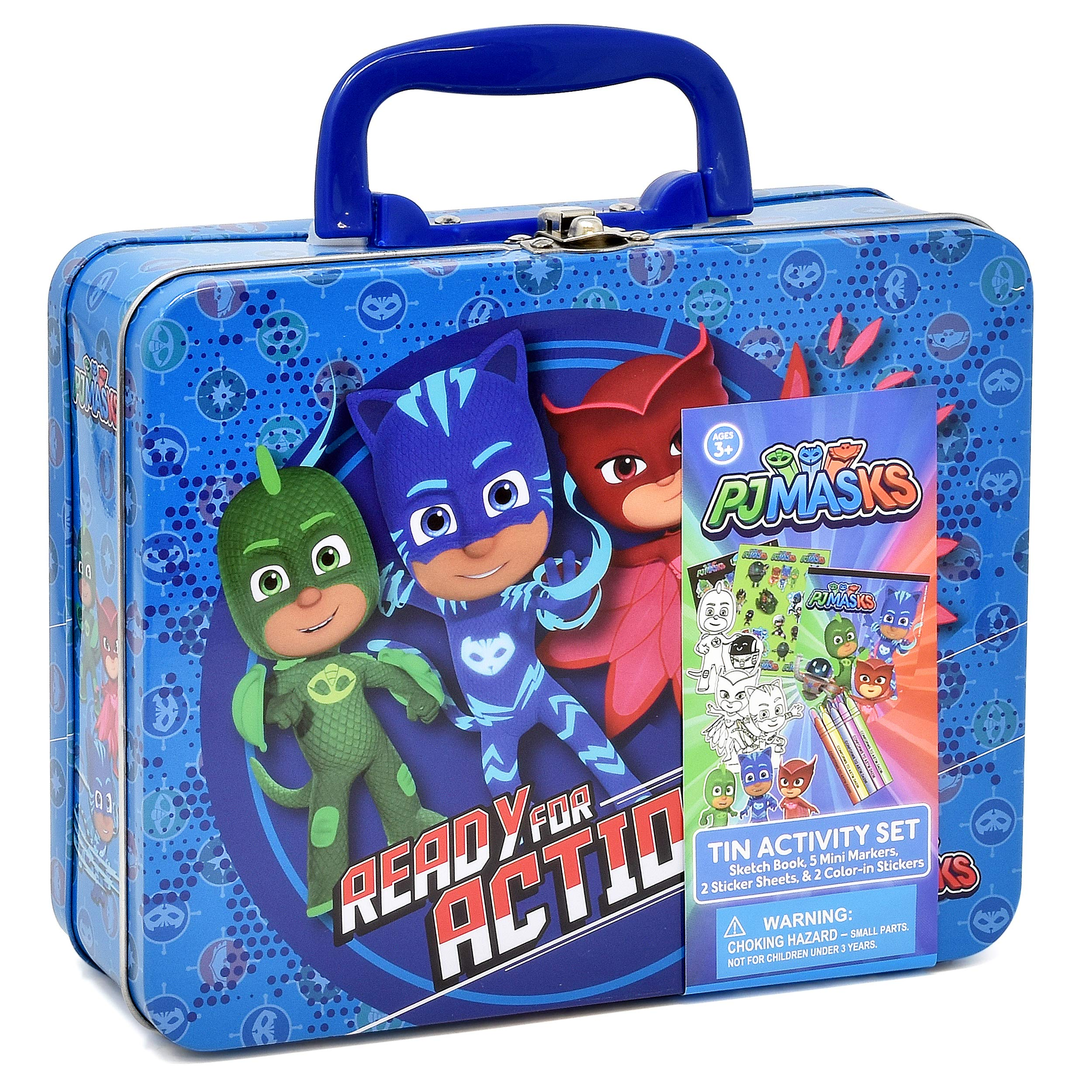 PJ Masks Coloring and Activity Tin Box, Includes Markers, Stickers, Mess Free Crafts Color Kit in Tin Box, for Toddlers, Boys and Kids