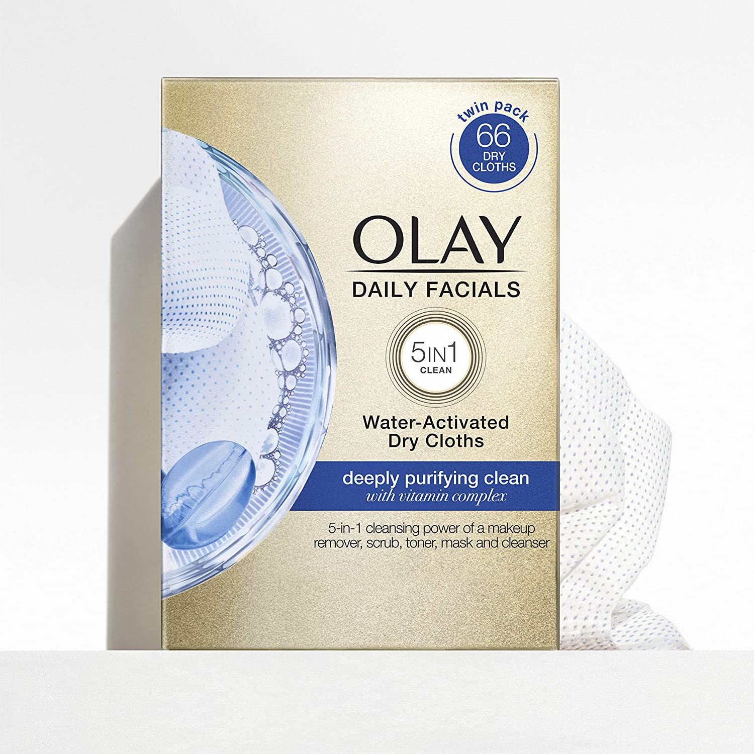 Olay Daily Facials, Deeply Purifying Clean, 5-in-1 Cleansing Wipes with Power of a Makeup Remover, Scrub, Toner, Mask and Cleanser, 66 count: Beauty