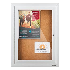 Norwood Commercial Furniture NOR-ATA-1003-SO Outdoor/Indoor Enclosed Cork, Bulletin Board with One Door, 2' W x 3' H, Silver/Brown