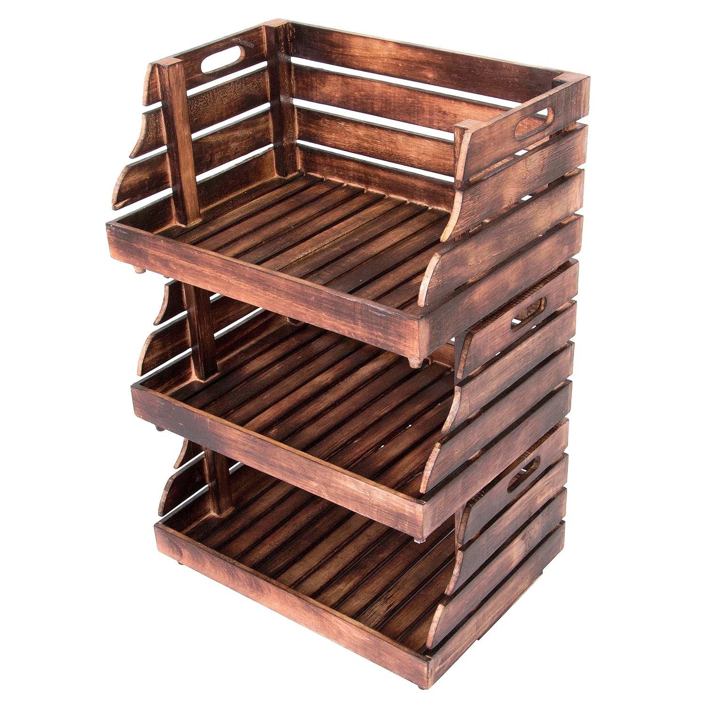 Divero 3er Set Vintage Holzkiste Stapel-Kiste Spielzeug-Box Stiege braun geflammt Aufbewahrung 49x35x25, 5cm Obst- und Gemü sekisten-Look