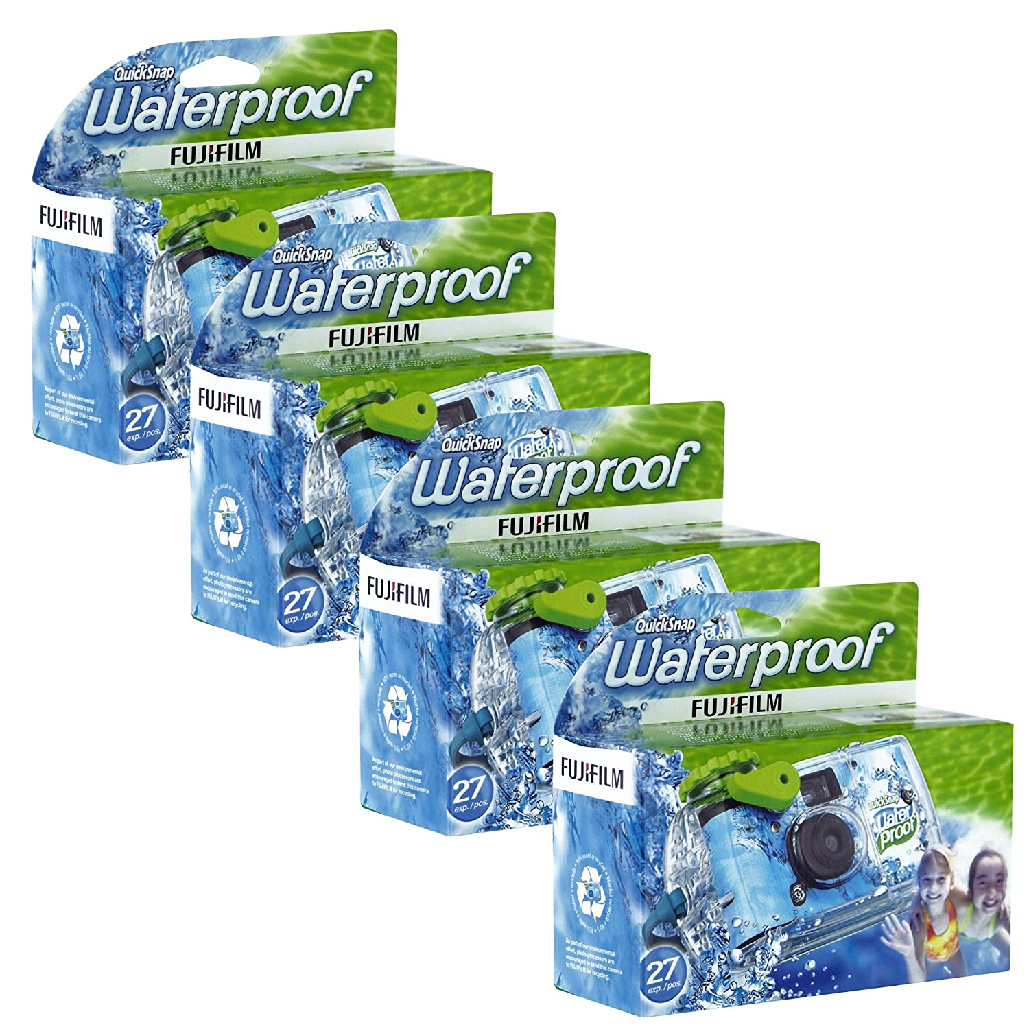 Fujifilm fqsuw4 Quick Snap Waterproof 35mm Single Use Camera, 4 Pack (Blue/Green/White)