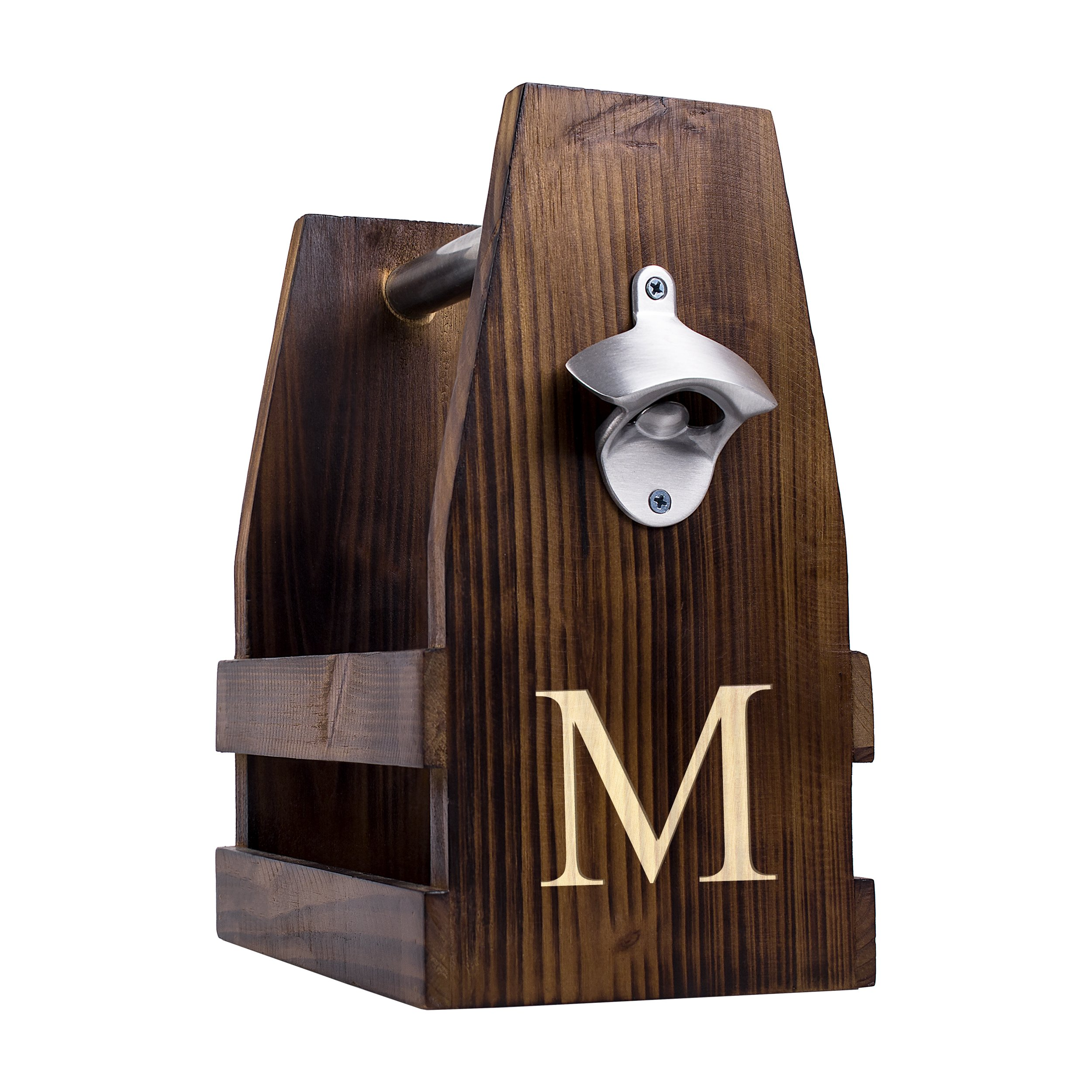 Cathy's Concepts Personalized Rustic Craft Beer Carrier with Bottle Opener, Letter M