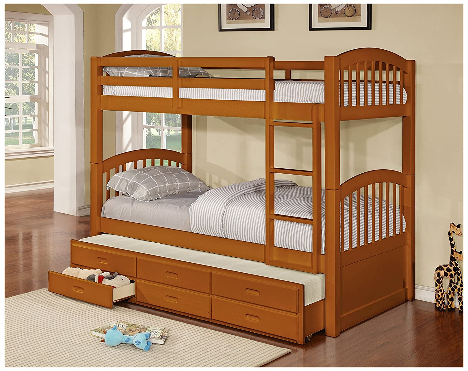 Amazon InRoom Designs B179H Wood Twin Size Bunk Bed Bunkbed With Trundle And Storage Drawers Honey Kitchen Dining