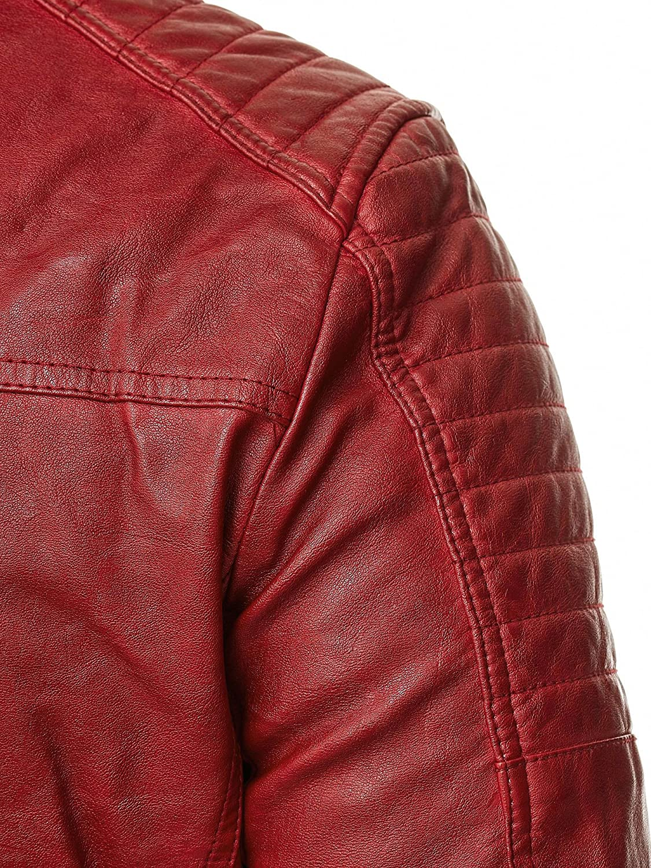Red Bridge Mens Jacket Slim-Fit Casual Faux Leather Cotton Biker Modern Coats