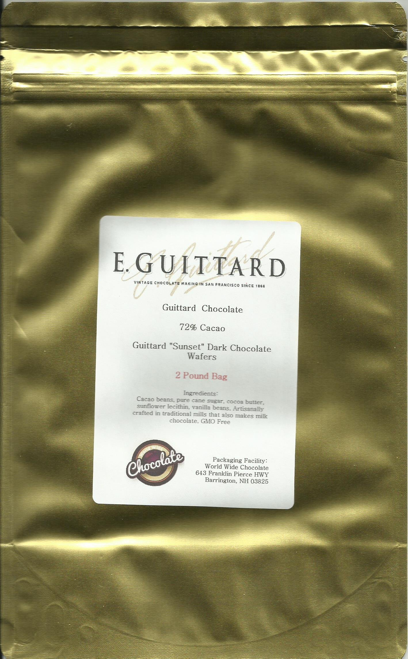 E. Guittard Chocolate - ''Coucher Du Soleil'' (Sunset) Bittersweet Dark Chocolate Wafers for Baking and Eating, 72% Cocoa, Gold Bag, 2 Pounds