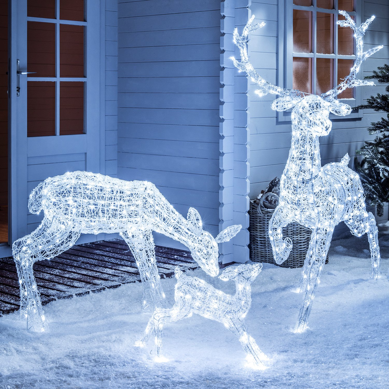 light up led sparkly christmas family of reindeer for indoor outdoor use by lights4fun amazoncouk kitchen home - Christmas Reindeer Decorations Outdoor