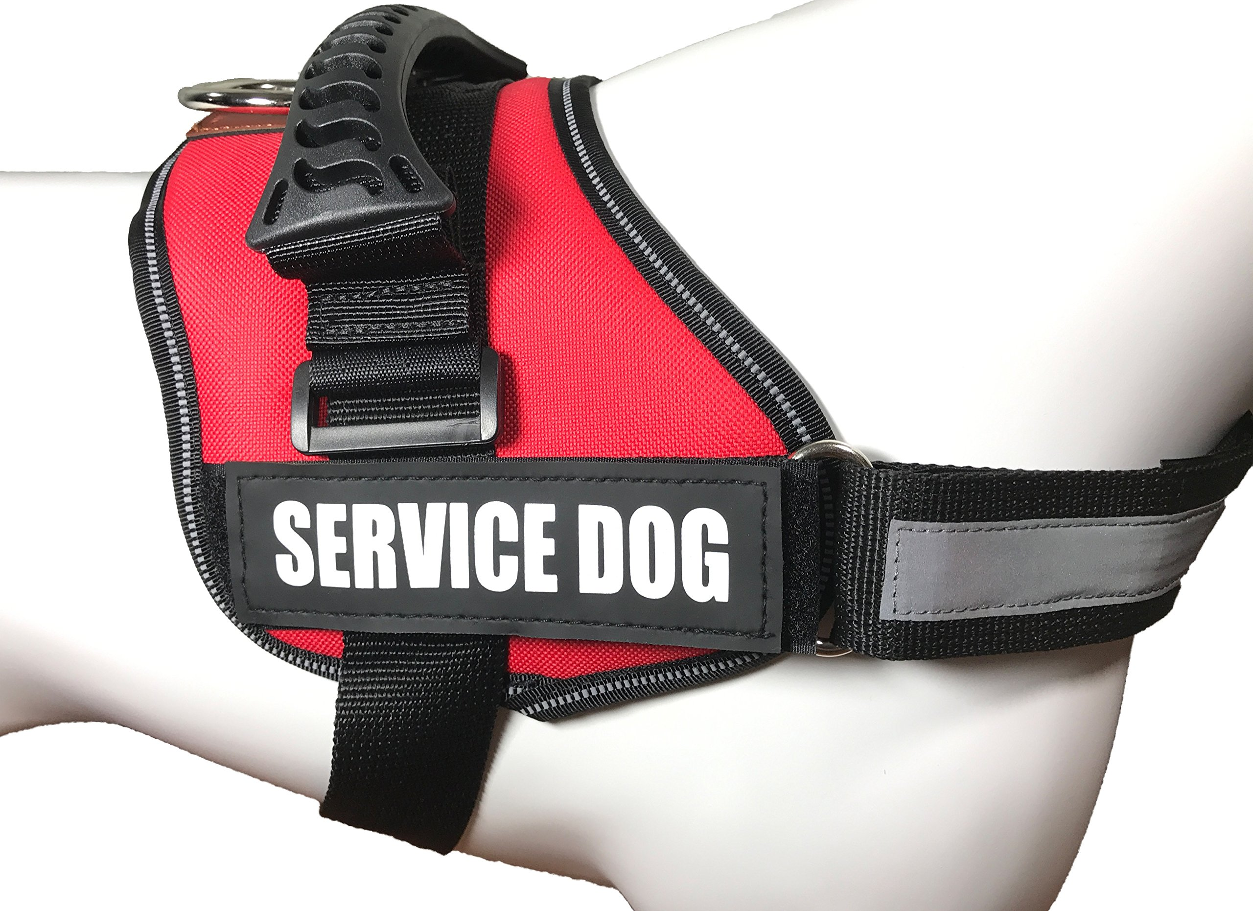 ALBCORP Reflective Service Dog Vest/Harness, Woven Polyester & Nylon, Comfy Soft Padding, Large, RED