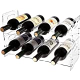 MyGift Set of 2 Premium Clear Acrylic Stackable Wine Racks with Cutout Handles - Holds 8 Bottles