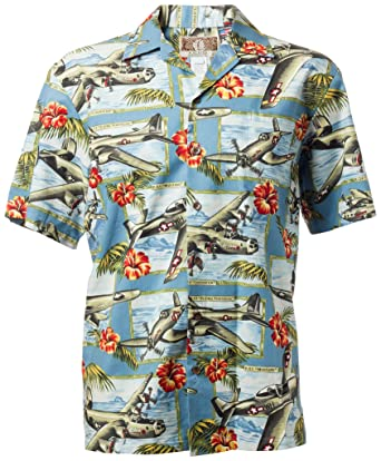 2653c2ba63a701 RJC Hawaiian Shirt Island Mist with WWII Aircraft at Amazon Men's ...