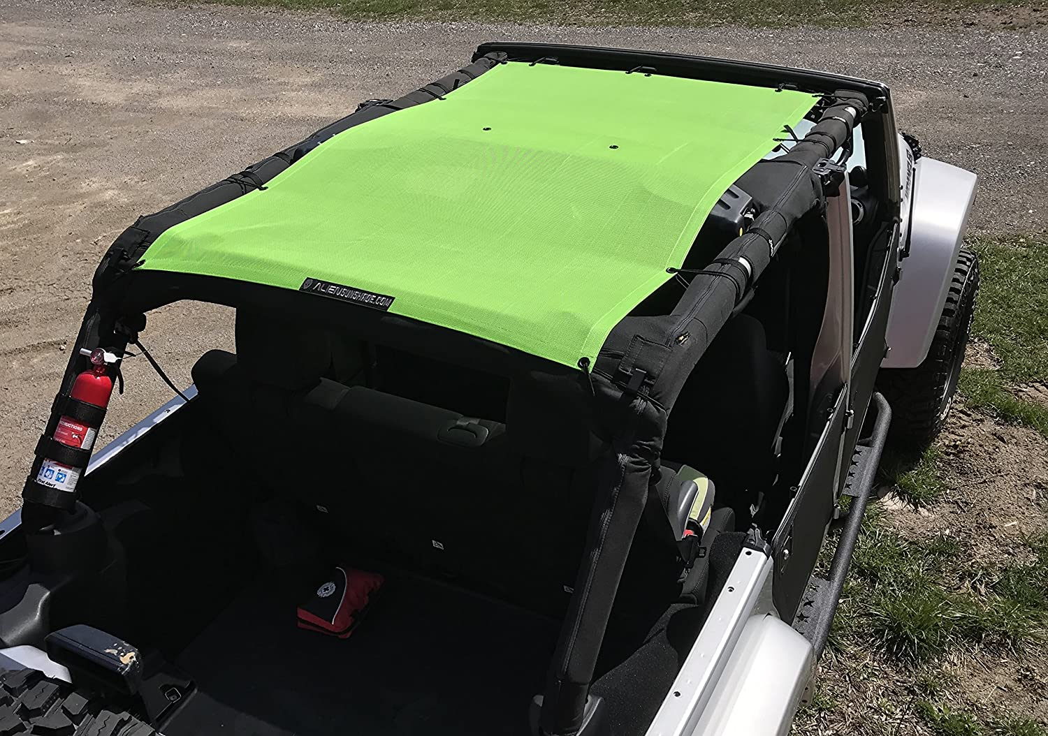 White 2007-2017 ALIEN SUNSHADE Jeep Wrangler Mesh Shade Top Cover with 10 Year Warranty Provides UV Protection for Your 4-Door JKU