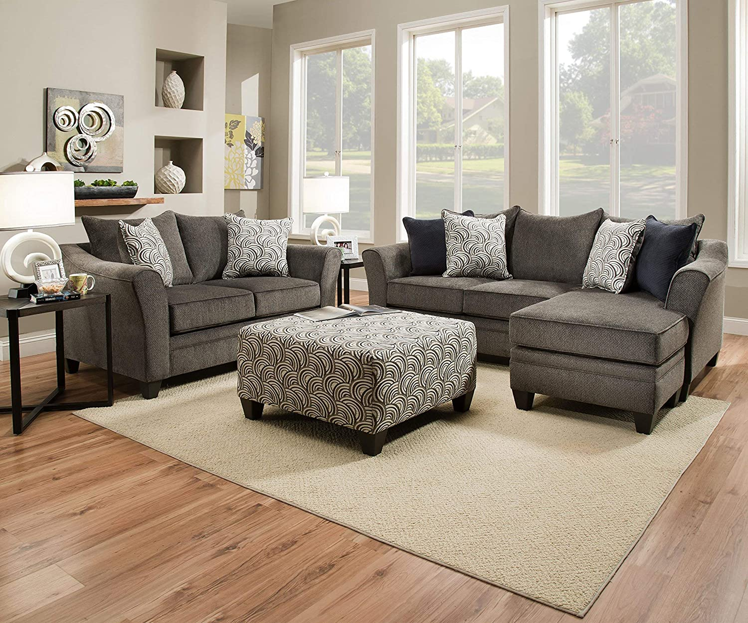 Simmons Upholstery 6485-02 Pewter Albany Loveseat,