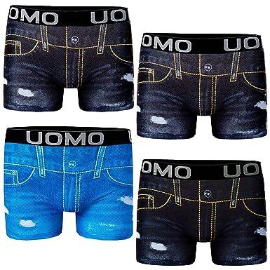964240eeededc8 Bongual 4St Herren Hipster Unterhose Baumwolle Trunk Retroshorts Jeans  Optik: Amazon.de: Bekleidung