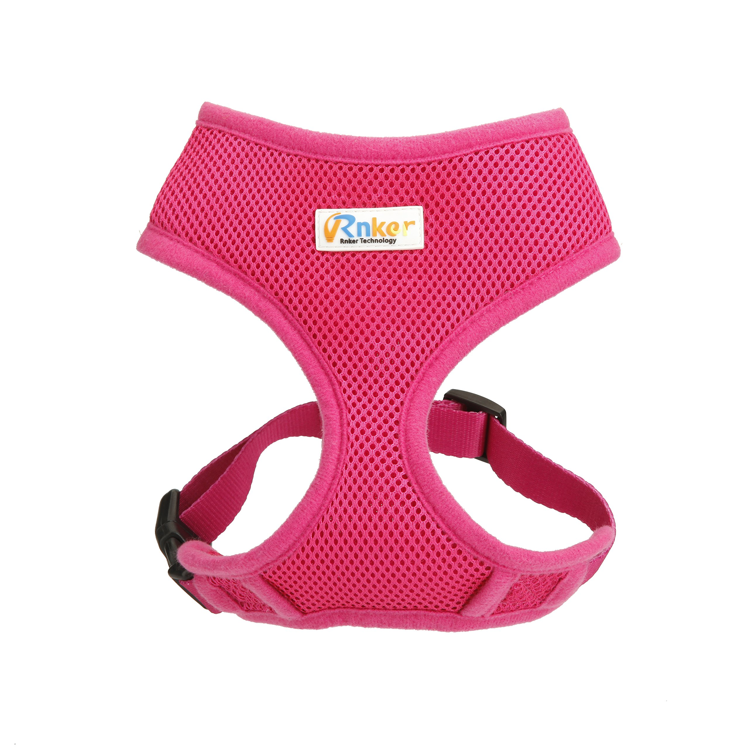 Rnker Soft Mesh Dog Harnesses Padded Vest No Pull Comfort Double Layer Harness Pet Puppy (Large, Pink)