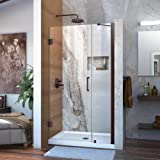 DreamLine Unidoor 39-40 in. W x 72 in. H Frameless Hinged Shower Door with Support Arm in Oil Rubbed Bronze, SHDR-20397210-06