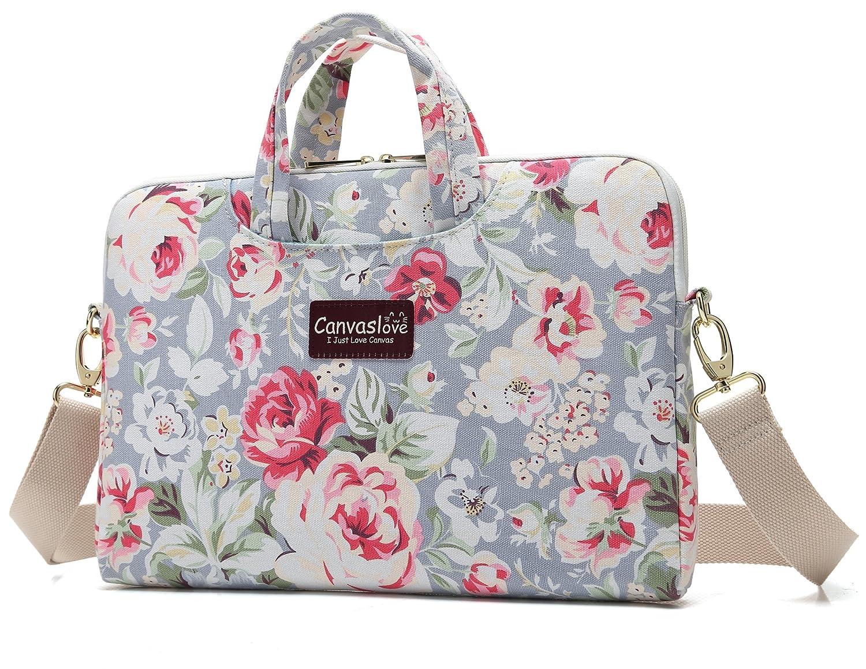 Canvaslove Nouveau Design pour ordinateur portable Sac à bandoulière 14 inch-15.6 inch & Macbook Pro 15 bleu/fleur Variation