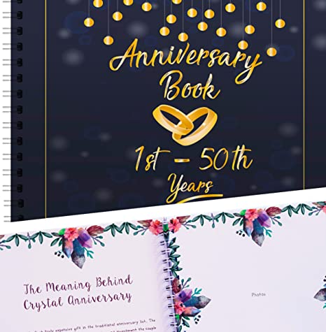 Wedding Anniversary Memory Book A Hardcover Journal To Document Anniversaries From The 1st To the 50th Year Personalized Marriage Presents For Husband /& Wife. Unique Couple Gifts For Him /& Her