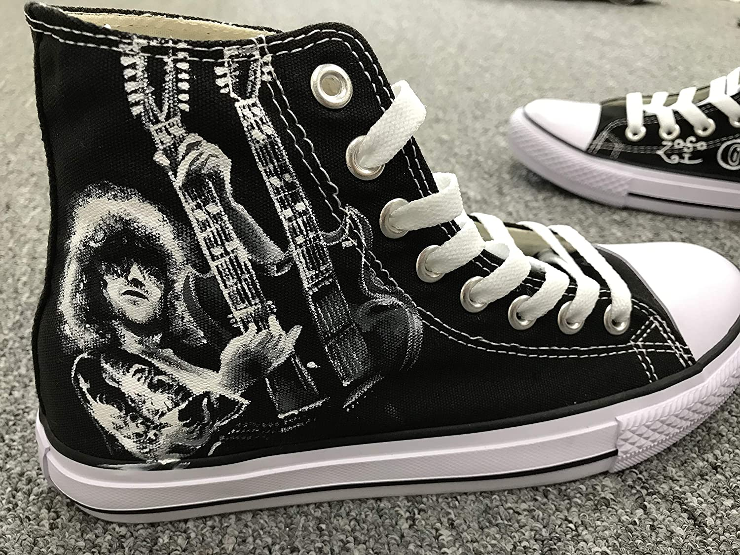 6625569a5558 Amazon.com  Men Women Sneakers Led Zeppelin Jimmy Page Hand Painted Shoes  Custom Sneakers Free Shipping  Handmade