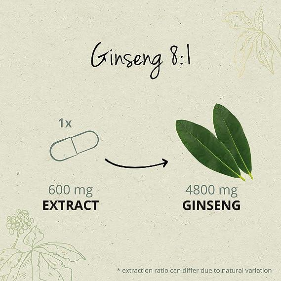 Ginseng Rojo Coreano PURO Vegavero® | LA DOSIS MÁS ALTA: 4800 mg | 20% Ginsenósidos | 120 Cápsulas | Energía + Afrodisíaco + Estimulante + Impotencia ...