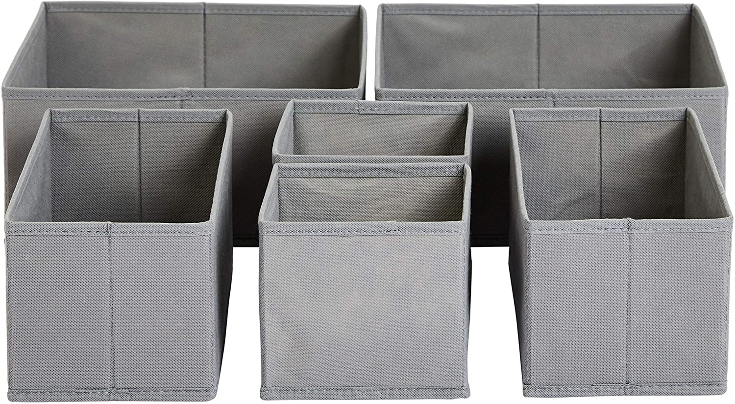 AmazonBasics Cloth Drawer Storage Organizer Boxes, Set of 6