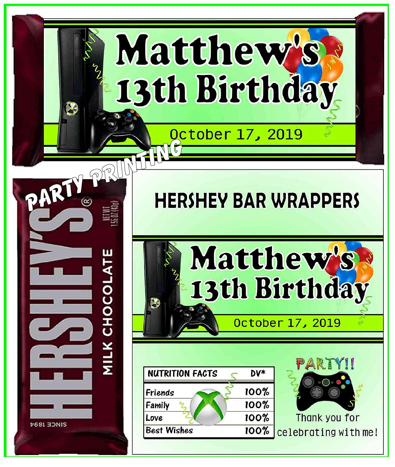 12 VIDEO GAME GAMING BIRTHDAY PARTY FAVORS CANDY BAR WRAPPERS PERSONALIZED
