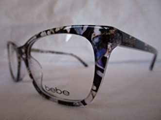 BEBE EYEGLASS FRAME BB5145 500 PLUM FLORAL PURPLE CLEAR 53-17-135