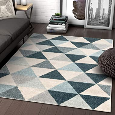 Well Woven Isometric Geometric Dark Blue Triangle Area Rug 5x7 (5'3  x 7'3 )