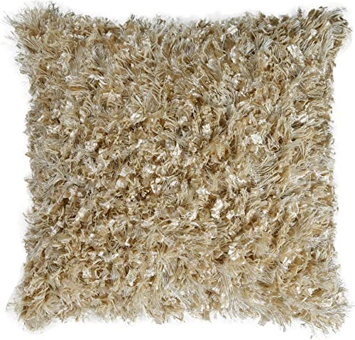 Shimmer Shag Beige 18 Pillow with
