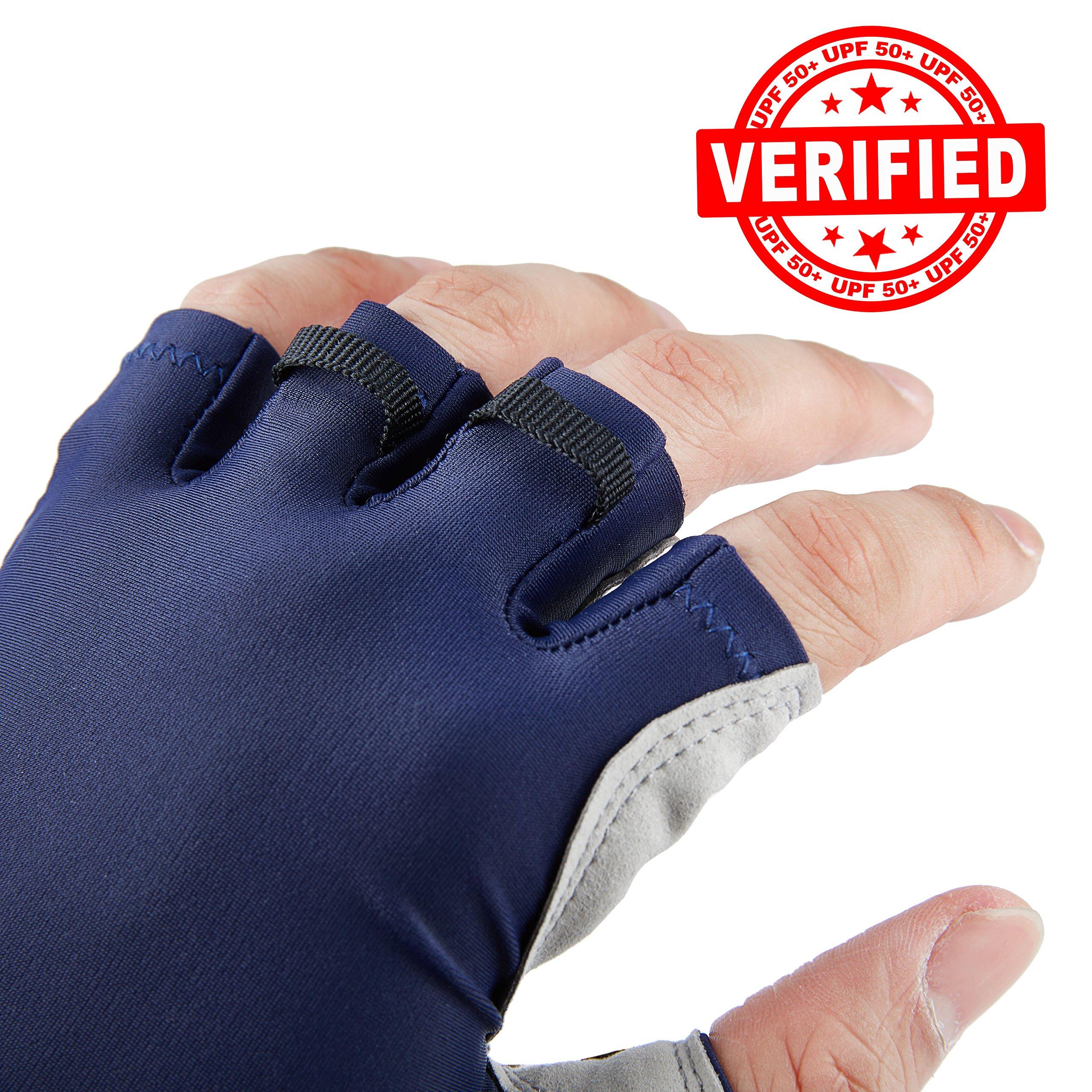 Fishing Gloves for Men /& Women Certified UPF 50 UV Sun Protection Half Finger