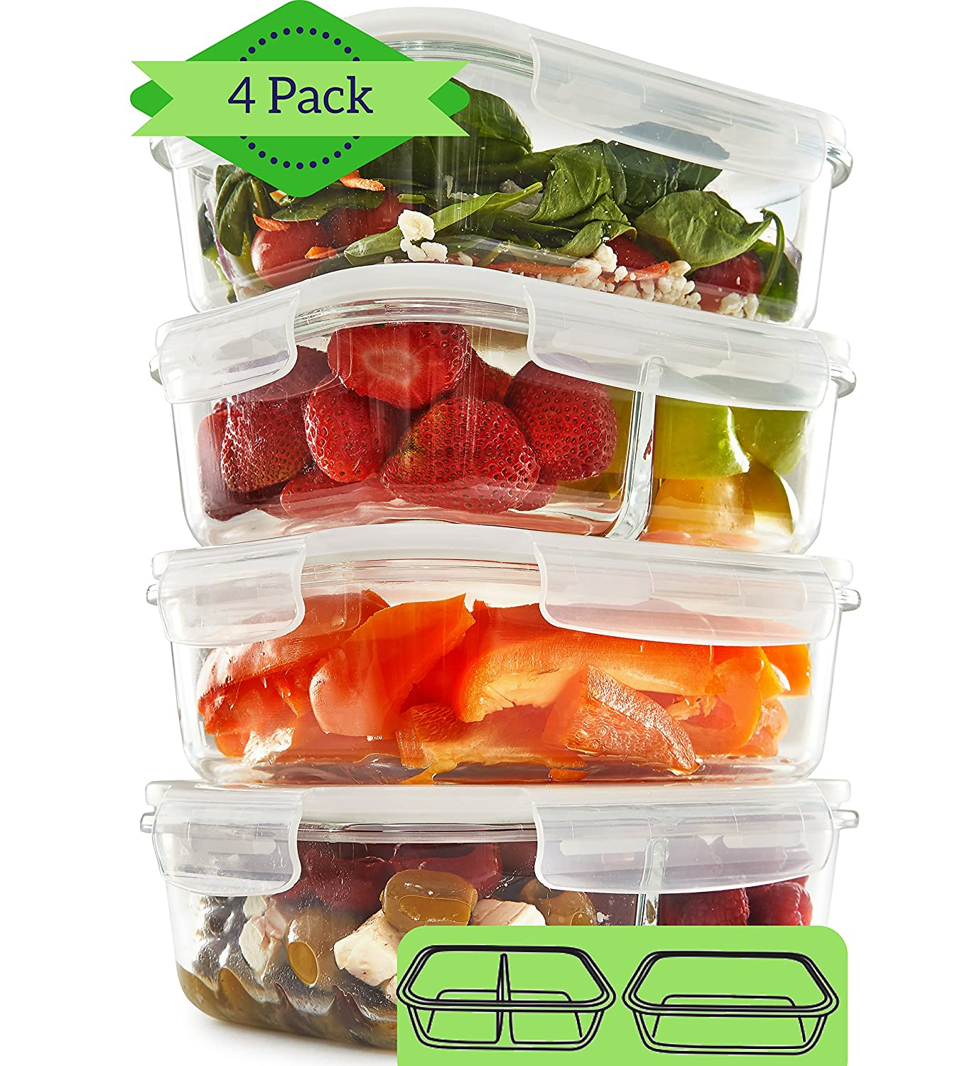1 & 2 Compartment Glass Meal Prep Containers (4 Pack, 1000 ML) - Glass Lunch Containers | Food Storage Containers with Lids | Food Prep Containers | Bento Box | Portion Control Reusable Dishes FIT Strong & Healthy GlassMealPrep_Mixed_4_35