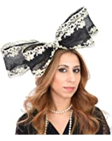 Gorgeous Henhammer Embroidered Sinamay Bow Ascot Derby Fascinator Hat - With Headband